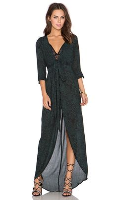 Knot Sisters Amorosa Maxi Dress in Emerals Animal