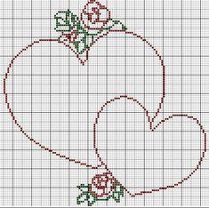 Free Cross Stitch Charts, Cross Stitch Heart, Hama Beads Patterns, Beading Patterns, Embroidery Fonts, Cross Stitch Embroidery, Crotchet Blanket, Broderie Bargello, Wedding Cross Stitch Patterns