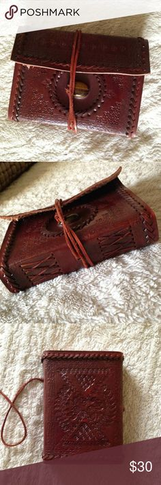 Tooled Leather Journal with Tigers Eye Stone Gorgeous detail. Wrap around style. Genuine leather. Thank you for looking! Other