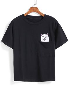 I hope this is that shirt where inside the pocket the cat is flipping you off