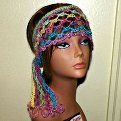 Rainbow Hippie Headband Irish Pink Yellow Blue Scarf Hair Band Gypsy Boho Crochet Mesh Freeform - product images