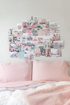 Collage Print Kit - Wander More Pink Wall Art, Wall Art Prints, Travel Collage, Pastel Home Decor, Pastel House, Photo Wall Collage, Teen Room Decor, Pink Room, Pink Walls