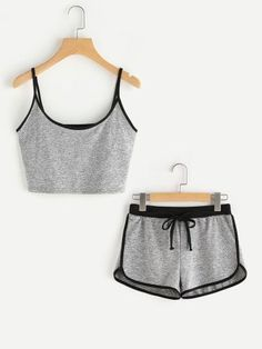 Shop Ringer Crop Cami Top With Drawstring Shorts online. SheIn offers Ringer Crop Cami Top With Drawstring Shorts & more to fit your fashionable needs. Cute Lazy Outfits, Sporty Outfits, Outfits For Teens, Summer Outfits, Pajama Outfits, Crop Top Outfits, Teen Fashion, Fashion Outfits, Fashion Black