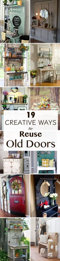 DIY home decor projects : Repurposing, reusing and upcycling an old door is just a great idea. If you already have an old door at home and you don't know what to do with it don't worry. Here are 19 ​creative DIY old door project ideas. Old Door Projects, Cool Diy Projects, Home Projects, Project Ideas, Vinyl Projects, Old Wood Doors, Salvaged Doors, Repurposed Doors, Reclaimed Windows