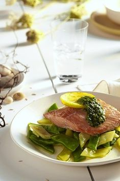Baked Salmon With Green Aioli and Romano Beans by Alice Waters via WSJ: 'The Alice' uses a mix of chervil, parsley and tarragon. #Salmon #Alice_Watters