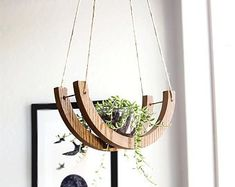 THE 1 2 MOON HANGING PLANTS HOLDER- Get a wooden moon for your succulent indoor cresent shape holder can be hung against a wall or from the ceiling It is a kind of a piece you will be proud to own and we will be happy to serve you and living # Wooden Planters, Hanging Planters, House Plants Decor, Plant Decor, Indoor Garden, Indoor Plants, Decorative Wall Hooks, Creation Deco, Plant Holders