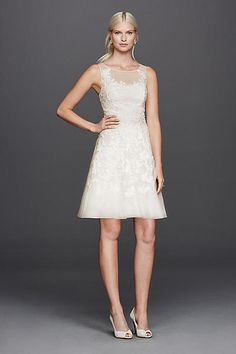 Short Lace and Tulle Dress with Illusion Bodice 182948DB