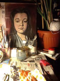 Olio su cartone .ritratto di OLGA
