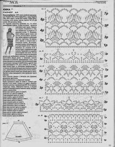 Irish lace, crochet, crochet patterns, clothing and decorations for the house, crocheted. Crochet Skirt Pattern, Crochet Skirts, Crochet Motifs, Crochet Blocks, Crochet Stitches Patterns, Crochet Chart, Crochet Clothes, Crochet Lace, Stitch Patterns