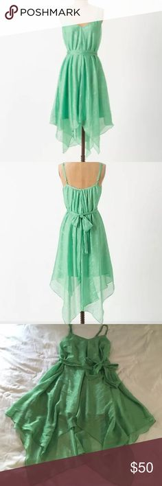 "Anthropologie Glimmered Piperita HD in Paris 4 DETAILS Flared mint shimmers asymmetrically, on this pointed-hem silhouette by HD in Paris.  Adjustable straps Self sash Polyester; polyester lining Machine wash Regular: 48""L Petite: 45.5""L Imported Style No. 24602609 Anthropologie Dresses High Low"