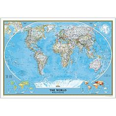 World Political Map (Classic), Enlarged and Laminated