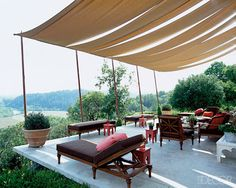Outdoor Fabric Curtains & Canopies ~ DIY Newlyweds: DIY Home Decorating Ideas & Projects