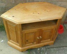 Solid Pine Corner TV Cabinet BEFORE