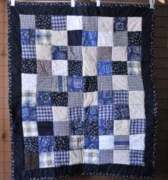 Adorable Country Themed Quilt - Navy, Tan, Cream and Brown #211 by PBandJ on Etsy