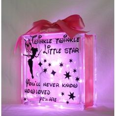 """Twinkle Twinkle Little Star"" moto. You choose the colour of lights and ribbon! Excellent night light."