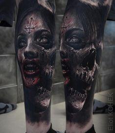 Unglaublich realistisches Tattoo mit atemberaubenden Effekten durch den Einsa… Incredibly realistic tattoo with stunning effects through the use of contrasts – Fusion Ink killer Evil Tattoos, Creepy Tattoos, 3d Tattoos, Badass Tattoos, Skull Tattoos, Body Art Tattoos, Sleeve Tattoos, Tattoos For Guys, Horror Tattoos
