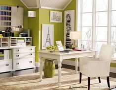 Love this office--green walls are my favorite....might do this for my craft room