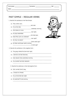 Past Simple: Regular Verbs Worksheet