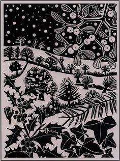 'December' by Carry Akroyd from John Clare's 'The Shepherd's Calendar' (linocut) Christmas Art, Christmas Landscape, Xmas, Celtic Christmas, White Christmas, Linoprint, Guache, Christmas Illustration, Wood Engraving