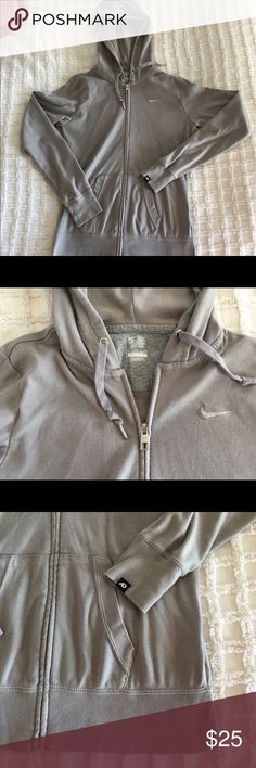Classic Nike Athletic Dept zip front hoodie Lightweight but warm, this classic grey hoodie is simple and soft. Two pockets, zip front, embroidered swoosh. Nike Tops Sweatshirts & Hoodies