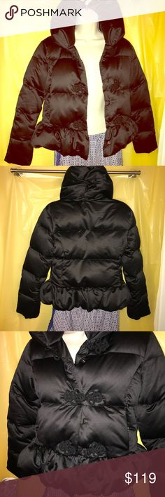Ralph Lauren Satin Puffer *Reduced* Black satin Down-filled puffer coat.  Elegant semi stand up collar and easy peplum bottom. Gorgeous hardly worn . Extremely warm and cozy. Worn 3 times...Kid's! Ralph Lauren Jackets & Coats Puffers