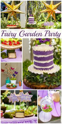 A gorgeous Fairy Garden girl birthday party with a lovely cake, fairy dust favors and a build a fairy garden activity!  See more party planning ideas at CatchMyParty.com!
