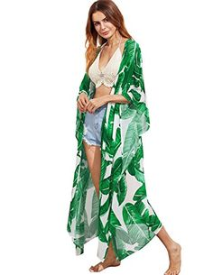 fad7711d1d6b9 Cheap kimono women, Buy Quality women summer tops directly from China  summer tops Suppliers: SHEIN Green Jungle Leaf Print Longline Poncho Kimono  Women ...