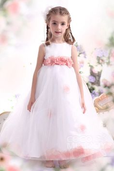 Pretty A Line Tank Top Ankle Length Organza White Girls Easter Dress CKZA13006#Cocomelody# flowergirldress#