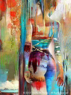 Abstrakte Figur Kunst • Abbildung Gemälde Reproduktion • spektrale #2 • zeitgenössische nackt Fine-Art Print