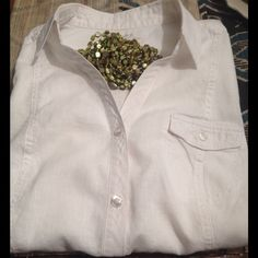 """Sonoma Cotton/Linen Vintage White Short Sleeve✨ Beautiful and comfortable, can be dressed up or down. Measurements laid flat, from shoulder seam to shoulder seam 15"""", bust 21"""" and from shoulder to hem 25"""". My Silpada N1814 necklace isn't for sale but you can find it @steffen1 and @patedkmd  The last photo shows two tiny pinhead marks which aren't easily visible, but full disclosure. Thank you for shopping my closet! ✨ BundleAndSave Sonoma Tops Blouses"""