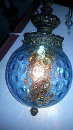 Vintage Blue Glass Swag Lamp Ceiling Light Glass Retro Globe