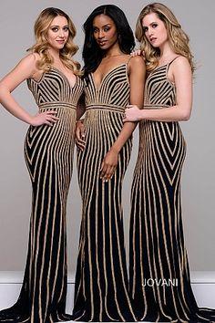 Black and Gold Beaded Bridesmaid Dress 45898