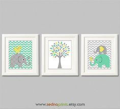 Mint yellow and grey elephant Nursery Art Print Set by SednaPrints