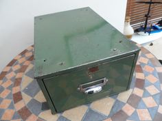Retro & Vintage Metal Desk Top Index Card Filing Cabinet in Olive Green finsih contemporary Industrial style storage for Home/Office by VintageFoggy on Etsy