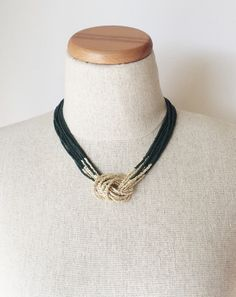 Hunter green and gold necklace, seed bead necklace,dark green necklace,knot necklace, beaded necklace, beaded choker, multistrand necklace