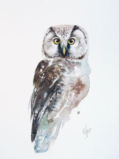 Owl Watercolor, Watercolor Paintings, Watercolors, Strix Aluco, Tawny Owl, Bird Artwork, Paintings For Sale, Lovers Art, Pet Birds