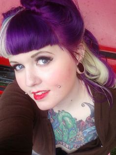 purple and platinum blonde hair with victory rolls