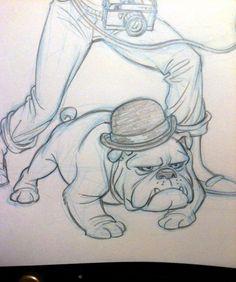 Late night partial sketch of a bowler wearing bulldog. Funny Bulldog Pictures, English Bulldog Pictures, English Bulldog Art, British Bulldog, English Bulldogs, Bulldog Cartoon, Cartoon Dog, I Love You Drawings, Amazing Drawings