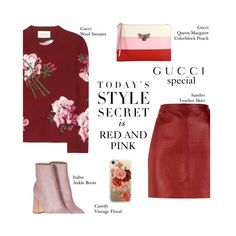 """Red and Pink: Gucci Special"" by pianogirlzoe ❤ liked on Polyvore featuring Gucci, Sandro, Laurence Dacade, Casetify, Pink, red, gucci and pinkandred"