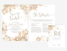 Wedding Invitation Stationary Set DIY | Editable MS Word Template | Floral Brown