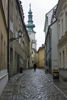 View of the Michaels Tower, Slovakia, from alley leading towards it. by Damon Finlay Places In Europe, Places To Go, Wonderful Places, Beautiful Places, My Travel Map, Europe Street, Bratislava Slovakia, Continental Europe, European Countries