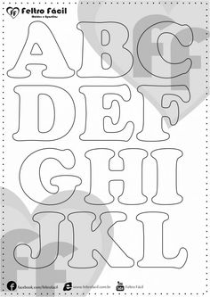 ALPHABET LETTER MOLDS - We selected here in this post some molds of alphabet letters for felt productions already edited in natural size! Hand Lettering Alphabet, Cool Lettering, Felt Animal Patterns, Stuffed Animal Patterns, Felt Crafts, Paper Crafts, Alphabet Templates, Diy Crafts How To Make, Quilling Craft
