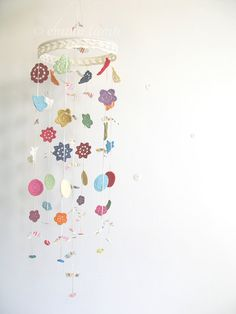 So cute!  crochet mobile Delilah  Merry mobile rainbow by emmalamb/etsy