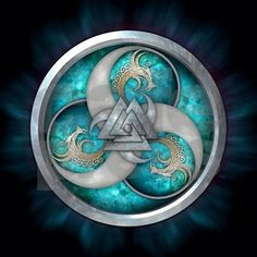 Norse-style triple horns & dragons with a doubled Viking Valknut centered on a silver and teal shield.