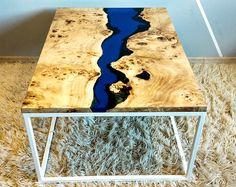 VENDU direct bord rivière bleu époxy table basse vendu