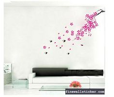 Removable Swallow Flying In The Sky Wall Sticker Wall Stickers Japanese, Flower Wall Stickers, Wall Decor Stickers, Decals, Red Cherry Blossom, Simple House Design, Room Wall Decor, Kids Room, Interior Design