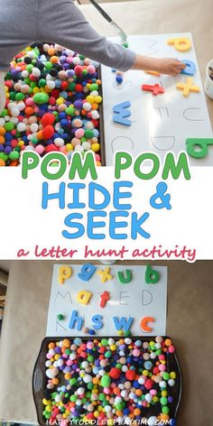 Here is a list of creative and easy pom pom activities and crafts for toddlers and preschoolers. From sensory and learning activities to arts and crafts! Sensory Activities Toddlers, Games For Toddlers, Alphabet Activities, Classroom Activities, Preschool Activities, Morning Activities, Sensory Art, Preschool Alphabet, Sensory Boxes