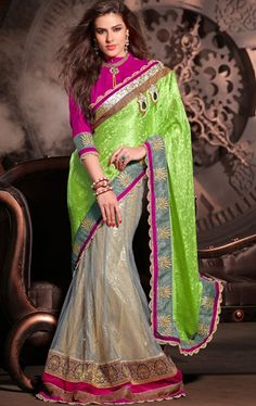 Picture of Splendorous Ash Gray and Lime Green Color Designer Saree