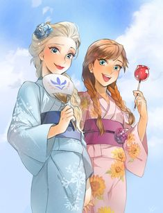 Elsa and Anna in Japanese dress by ANO #disney #frozen #fanart