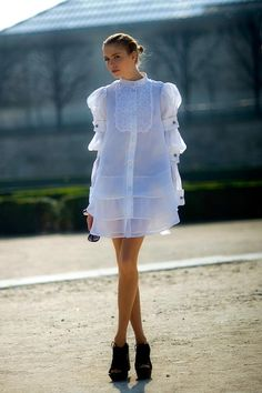 Crisp white shirtr-dess street style fashion